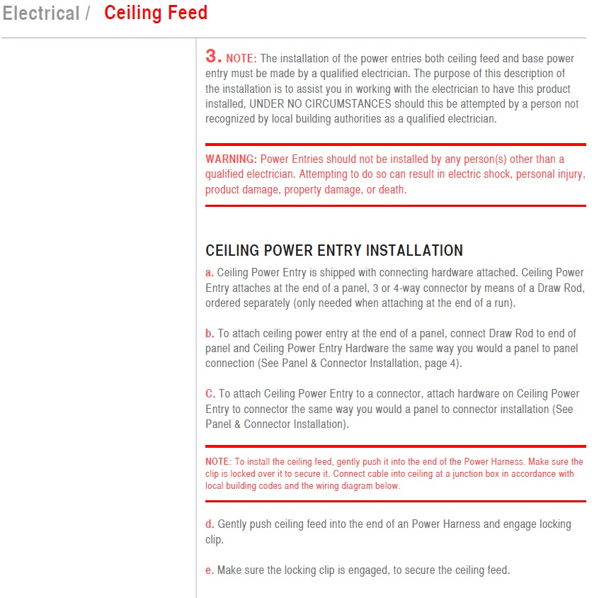 Electrical Ceiling Feed