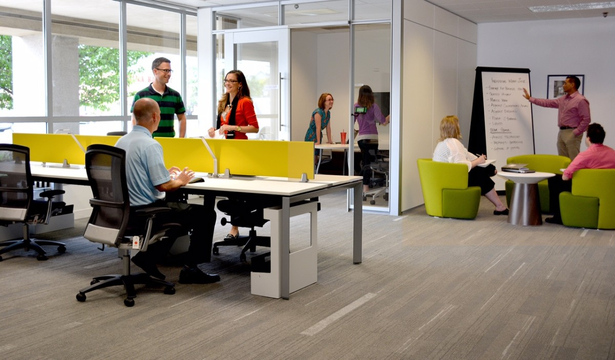 the importance of creating an open plan desking and collaborative