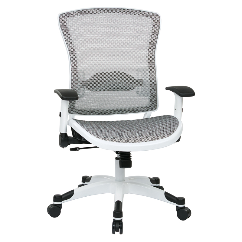 317W-W11C1F2W Space Mesh Task Chair, White Coated Base