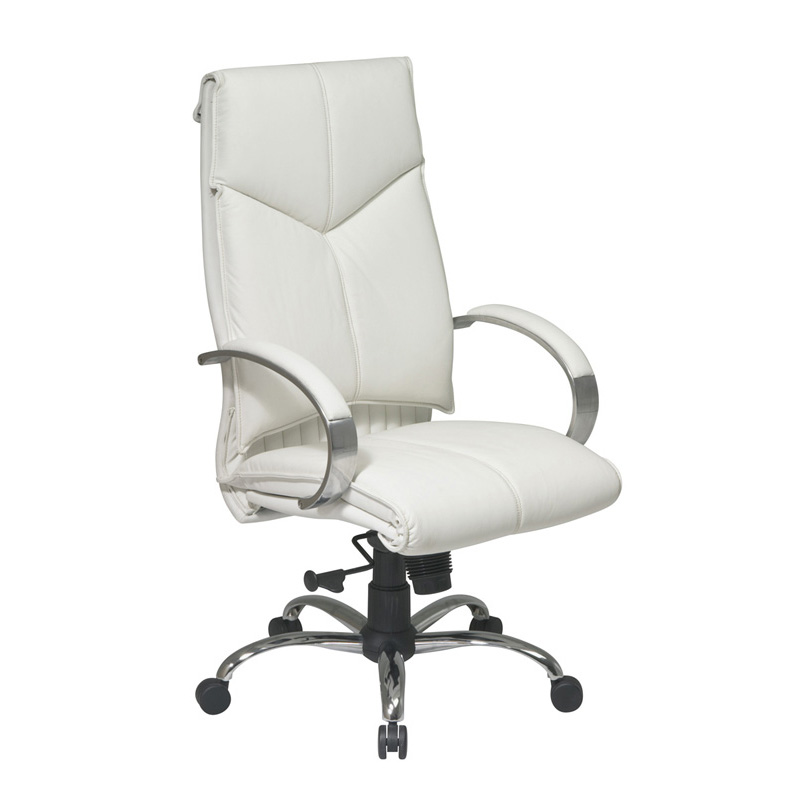 7270 Deluxe High-Back Executive Leather Chair with Chrome Finish Base