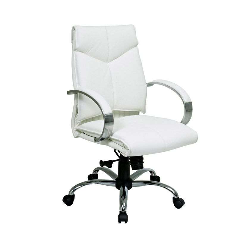 7271 Deluxe Mid-Back Executive Leather Chair with Chrome Finish Base