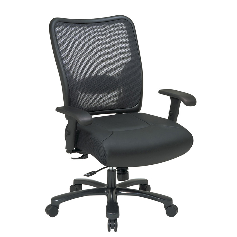 75-47A773 Double AirGrid Back & Layered Leather Seat Ergonomic Chair