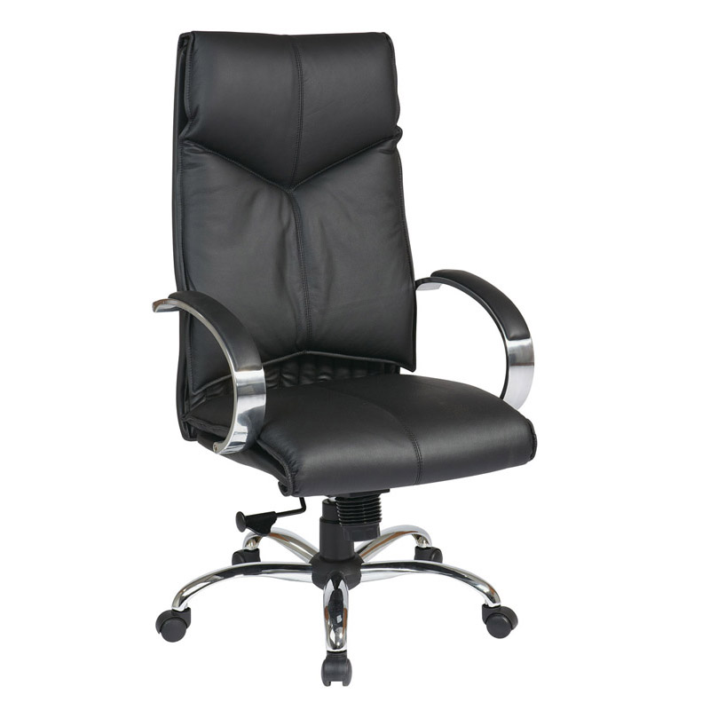 8200-3 Deluxe High-Back Executive Leather Chair with Chrome Finish Base