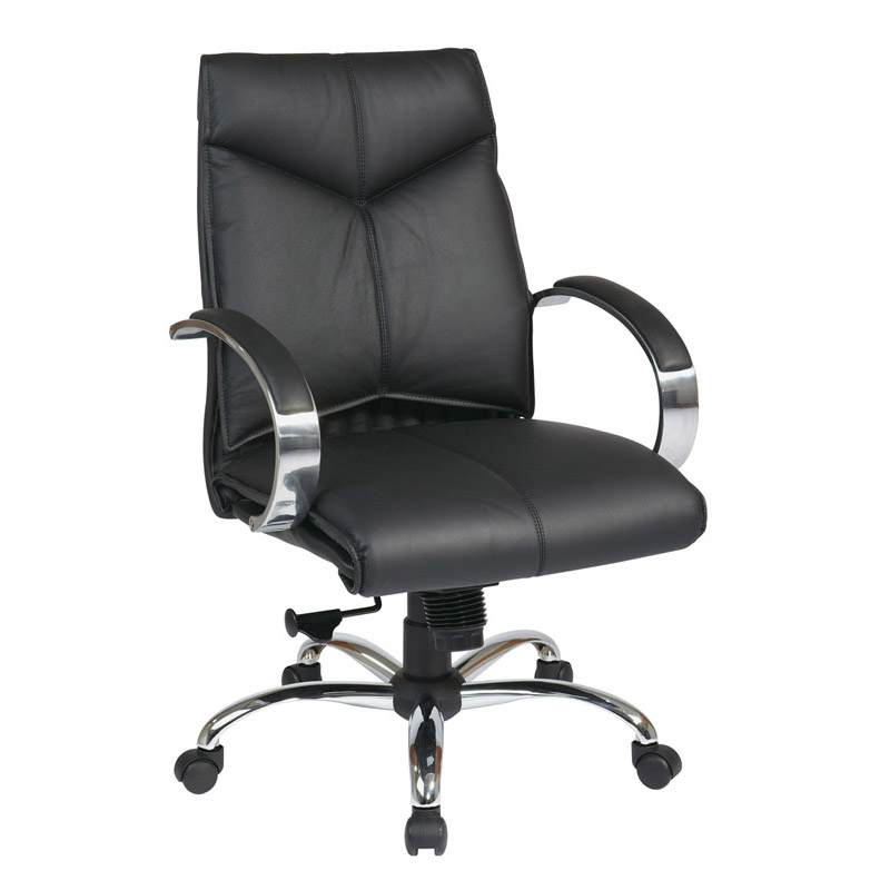 8201-3 Deluxe Mid-Back Executive Leather Chair with Chrome Finish Base