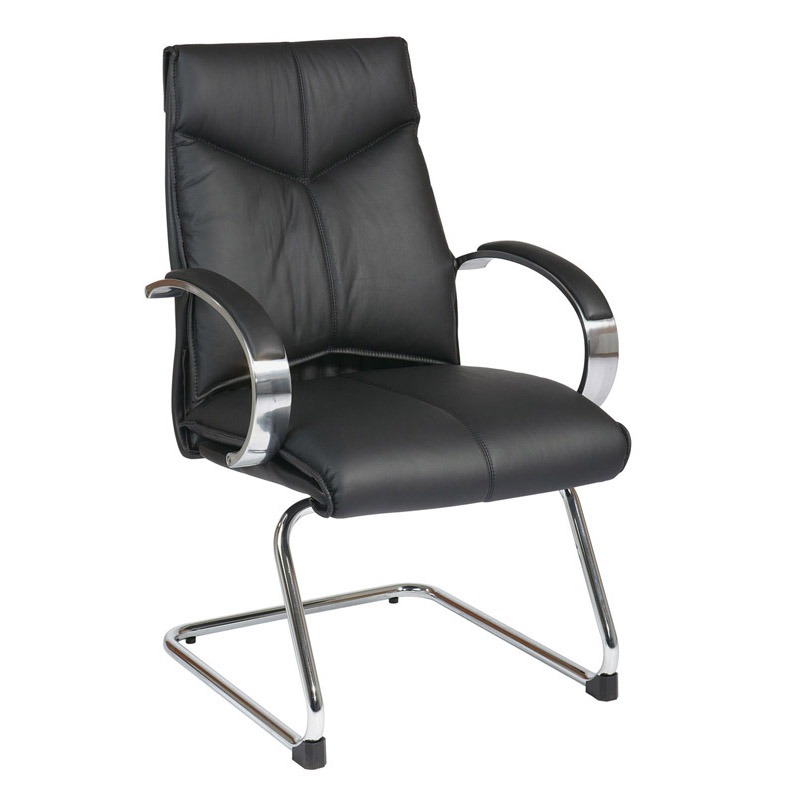 8205-3 Deluxe Mid-Back Executive Leather Visitors Chair with Chrome Finish Base