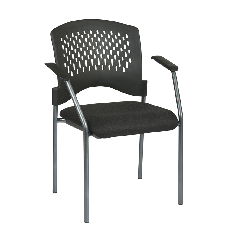 8610-30 Titanium Finish Visitors Chair with Arms and Plastic Back