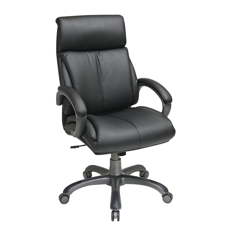 ECH68807-EC3 Executive Eco Leather Chair with Padded Arms and Coated Base