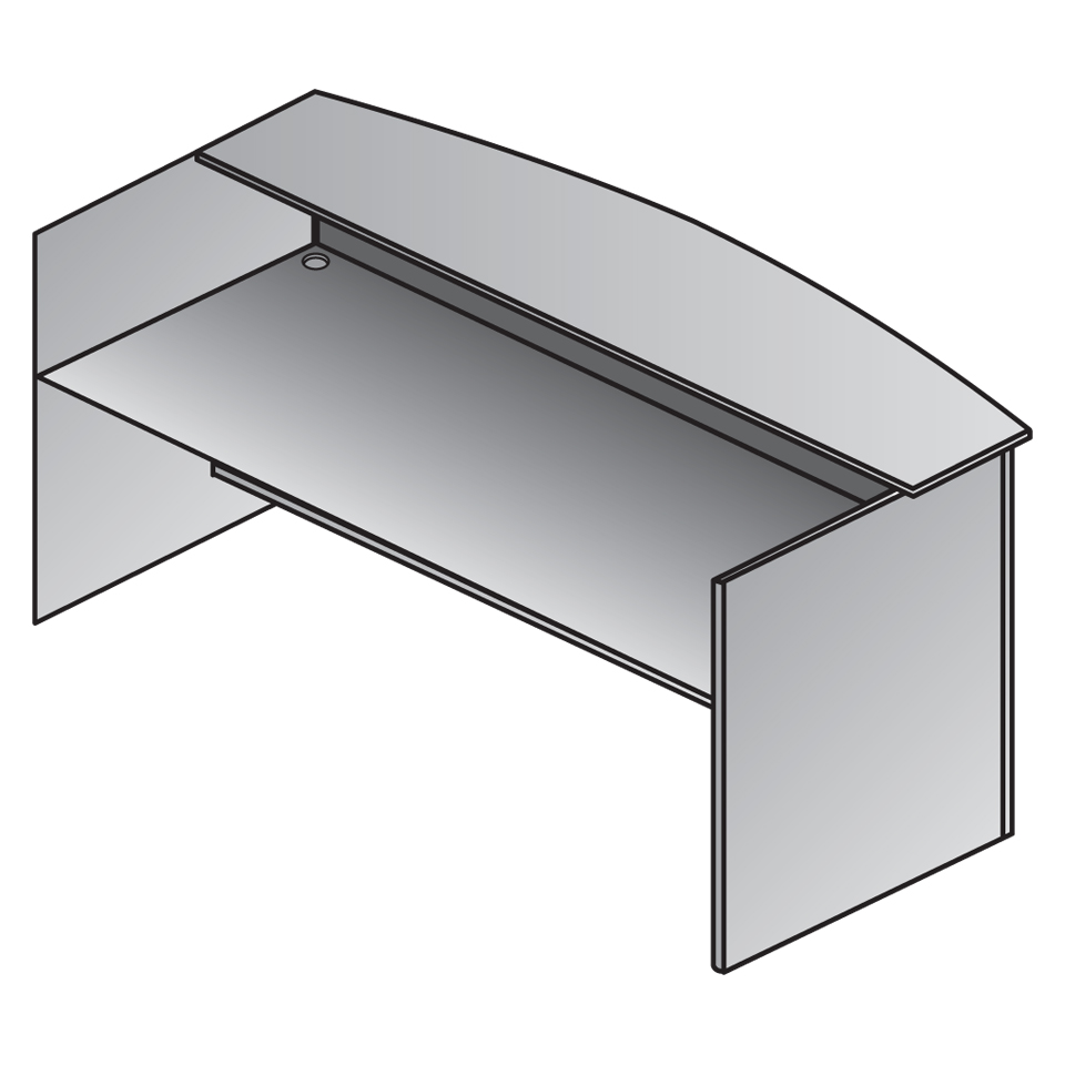K-122GM Reception Desk with Glass Top