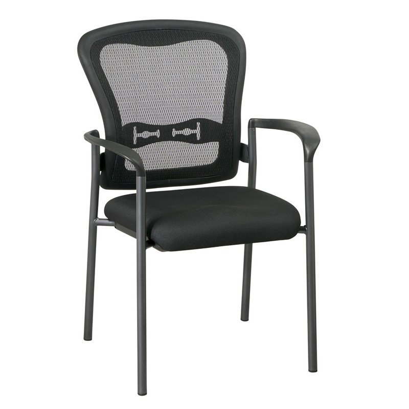 MI-1500-30 ProGrid Back Visitors Chair with Arms and Titanium Finish