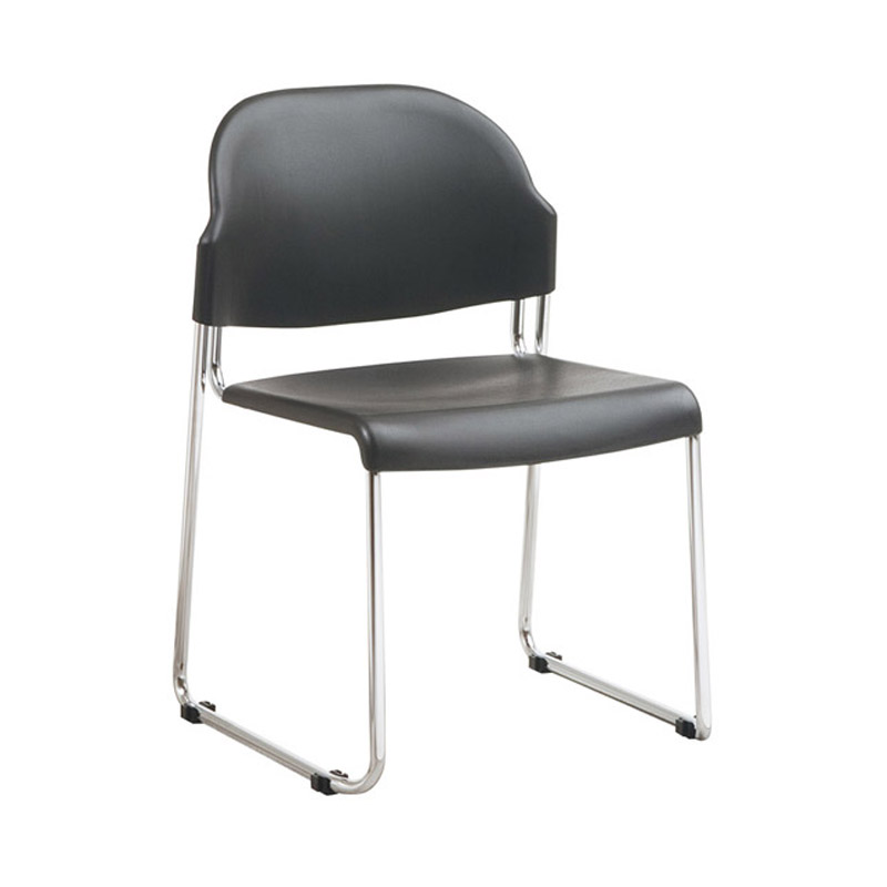 OFD-3030-3 Stack Chair with Black Plastic Seat and Back